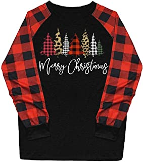 Tsmile Women Christmas Tree Print Shirts Funny Plus Size Long Plaid Sleeve Crew Neck Grid Raglan Pullover Blouse Tops