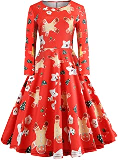 5d27d9e73bf5 iDWZA Women's Vintage Christmas Long Sleeve Print Gown Evening Party Dress  Skirt