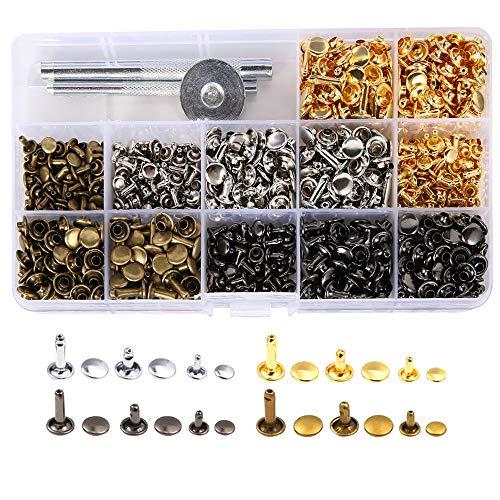 Bestgle Remaches de Cuero 420 piezas Remache de Doble Tapa 3 Tamaños (6mm,8mm,12mm) Botones Snaps de Presión, 4 Colores Kit de Herramienta de Botón Snap Metal Artesanía
