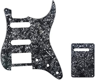 Musiclily HSS 11 Holes Strat Electric Guitar Pickguard and BackPlate Set for Fender US/Mexico Made Standard Stratocaster Modern Style Guitar Parts,4Ply Pearl Black