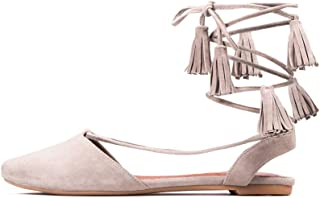 Women's Amour Tassel Tie-up Taupe Suede Flats