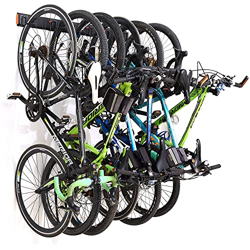 Homeon Wheels Bike Storage Rack,Wall Mount Bike Rack for Garage or Apartment Space, Adjustable Bike Hooks, Suitable for Kids and Road Bikes, Holds 6 Bikes and Max-200 Ibs