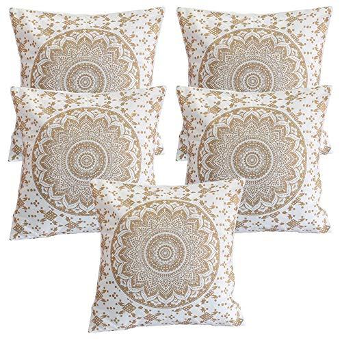 Stylo Culture Indian Kissen für Betten Gold Printed Floral Akzent Kissen Kissenbezüge Baumwolle Square Traditional Mandala Ombre 40x40 cm Kissenbezüge (Set von 5 Stück)