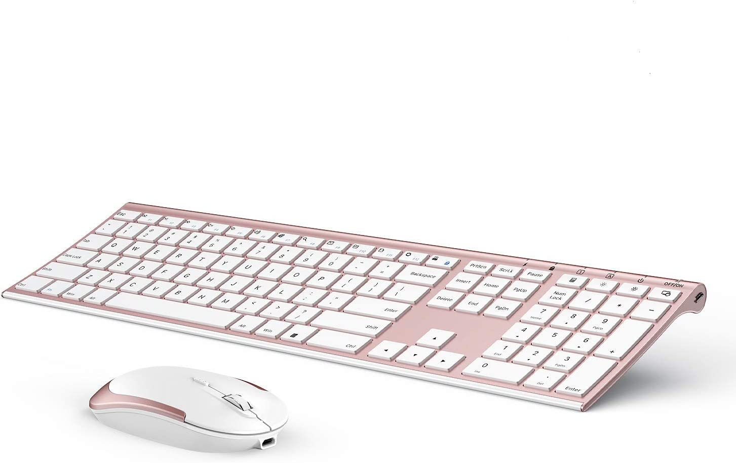 Wireless Keyboard and Mouse, Vssoplor 2.4GHz Rechargeable Compact Quiet Full-Size Keyboard and Mouse Combo with Nano USB Receiver for Windows, Laptop, PC, Notebook (Rose Gold)