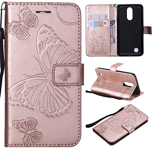 ARSUE LG K20 Case, LG K20 Plus Wallet Case,Leather Folio Flip PU Phone Protective Case Cover with Card Holder & Kickstand for LG K20/LG K20 Plus/LG K20 V/LV5/K10 2017/LG Harmony,Butterfly Rose Gold