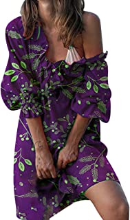 Remanlly Plus Size Women Off Shoulder Floral Print Long Sleeve Irregular Casual Dress Summer Floral Casual Party Dress sling strap