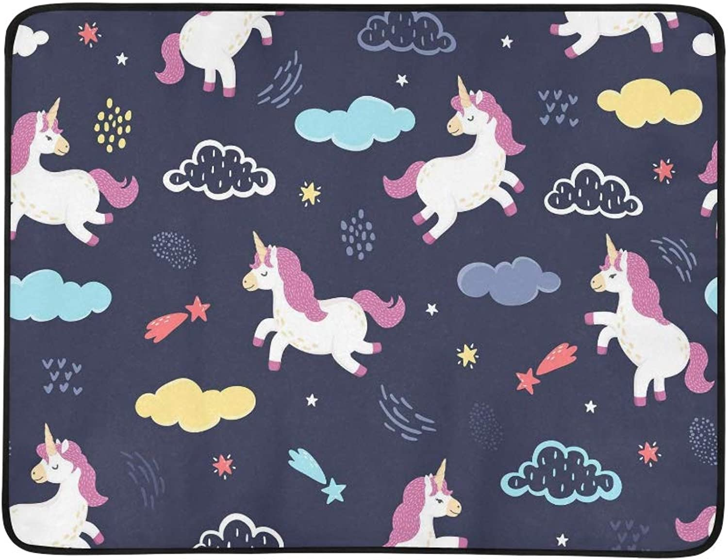 Vector Unicorns Jumping in The Night Sky Pattern Portable and Foldable Blanket Mat 60x78 Inch Handy Mat for Camping Picnic Beach Indoor Outdoor Travel