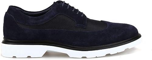 Hogan Homme HXM3930BH7267A4460 Bleu Suède Chaussures à Lacets Lacets Lacets a59