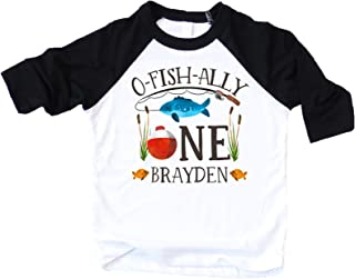 Personalized O-Fish-Ally- ONE Boys 1st Birthday Shirt Fishing First Birthday Boy Shirt - coolthings.us