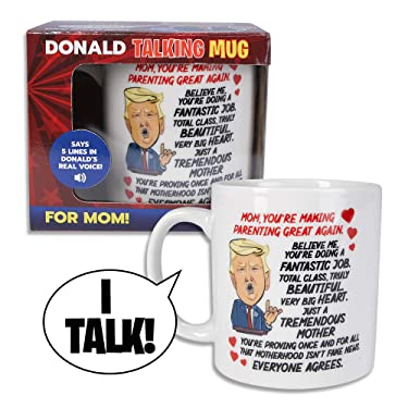 Donald Trump Talking Coffee Mug FOR MOM - Simply Lift Mug to Hear POTUS Deliver a Personal Greeting to Your Mother – Says 5 Lines - Trump's REAL VOICE – Fun Trump Gift - Funny Coffee Mugs for Women