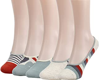 25122e651 Womens 5 Pack Thin Casual No Show Socks Non Slip Flat Boat Liner Low Cut  Ladies