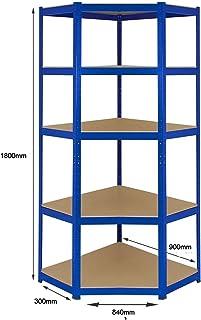 Estantería de esquina de acero resistente, 275 kg por estante (5 niveles 1800 mm de alto x 900 mm/840 mm de ancho x 300 mm de profundidad) + entrega gratuita al siguiente día laborable *