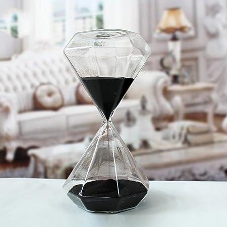 Clessidra in vetro creativa, romantica, colorata, alla moda, a forma di diamante, timer da scrivania e da cucina, ideale come regalo di compleanno o di Natale 5 Minutes Nero