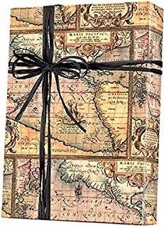 World Map World Traveller Gift Wrap Wrapping Paper - 15ft Roll with Tags