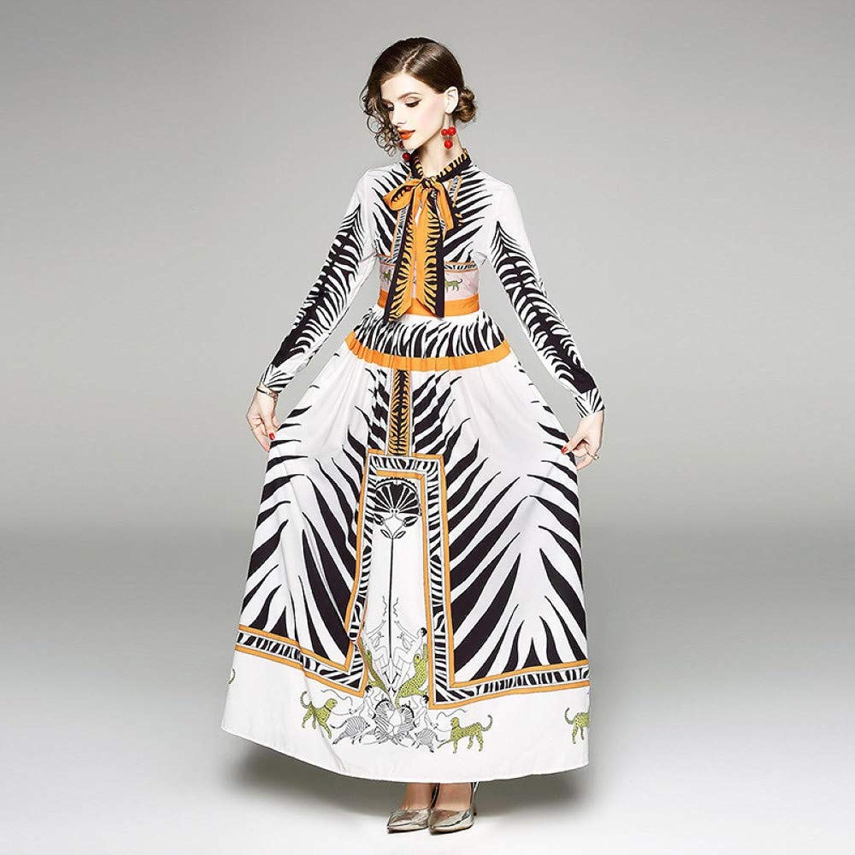 Cxlyq Dresses Women's Long Skirts Lead Long Sleeves Waist Printed Dress
