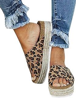 Women's Platform Espadrilles Criss Cross Slide-on Open Toe Faux Leather Studded Summer Sandals