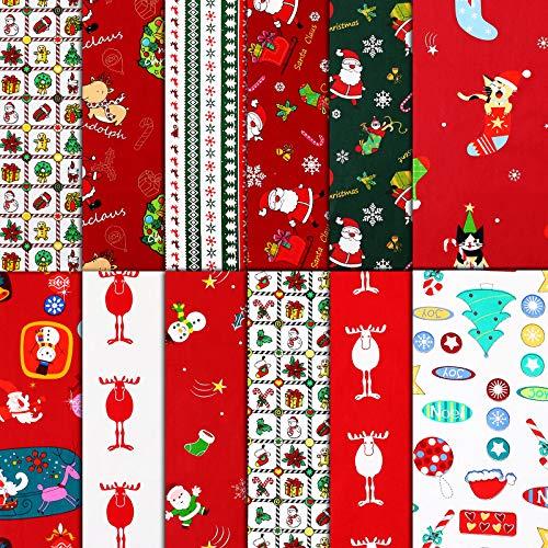 12 Pieces Christmas Fabric Fat Quarters Christmas Cotton Fabric Print Quilting Fabric Bundles Christmas Pattern Bundle Patchwork for DIY Craft Christmas Decoration, 22 x 18 Inch/ 56 x 45 cm