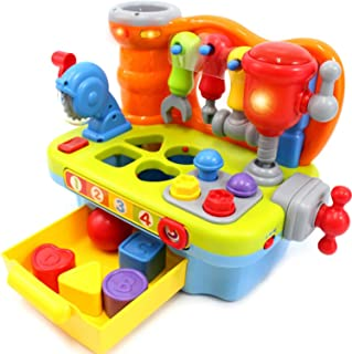 HOLA Musical Learning Workbench Toys for Kids Baby Construction Work Bench Building Tools with Sound Effects & Lights Engi...
