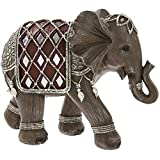 Figura decorativa de elefante marrón y plateado, en caja de regalo, 21 cm