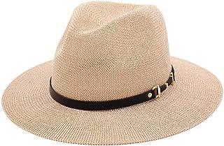 Wide Brim Fedora Hat Spring Summer Straw Sun Hat Women Sunhat Fedora Hat Protection Sun Hat Belt Big Hat Woven Breathable Visor Outdoor Travel Cap (Color : Pink, Size : 56-58)