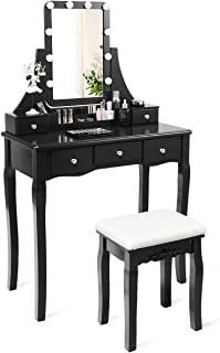 CHARMAID Vanity Set with Lighted Mirror, 10 Dimmable Light Bulbs Vanity Dressing Table, 5 Drawer with 2 Dividers Removable Organizer, Makeup Table and Cushioned Stool Set with 10 LED Bulbs (Black)