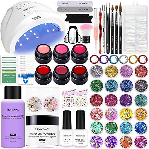 Morovan Acrylic Nail Kit Nail Supplies - 6 pcs Gel Nail Polish Kit with UV Light 48W Acrylic Powder Liquid Monomer Glitter Nail Art Supplies for Acrylic Nails Kit