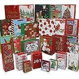 612 Vermont Christmas Bags, Bulk Set Includes 5 Jumbo Large, 6 Medium, 6 Small, 3 Perfume, 3 Mini, 2 Wine Bottle (Pack of 25)