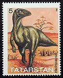 Hadrosaurus, Dinosaurs, Prehistoric Animals -Handmade Framed Postage Stamp Art 21907AM