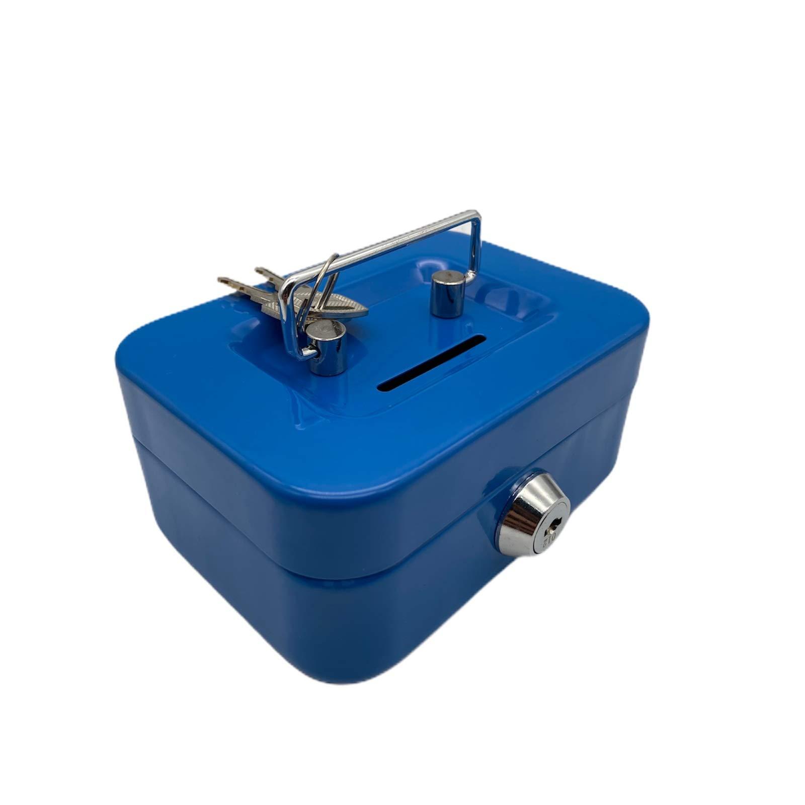 Nitaar - Caja metálica para dinero (11,4 cm, incluye 2 llaves), color azul: Amazon.es: Hogar