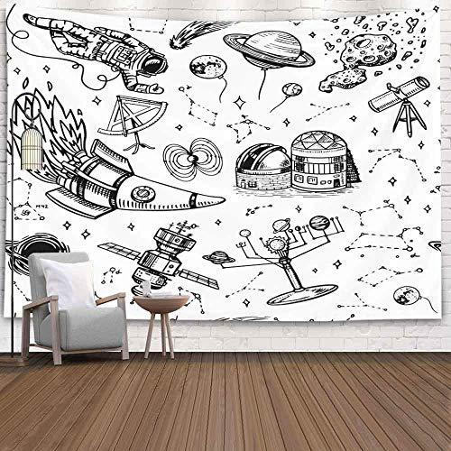 Tapiz del bosque de, tapiz Tapiz de Navidad Tapiz de pared de invierno Tapiz de ciervo para la sala de estar Patrón de tapiz de naturaleza en el espacio de estilo vintage y naves espaciales de la luna