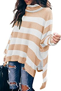 SAUKOLE Women Oversized Long Sleeve Turtleneck Waffle Sweaters Loose Casual High Low Striped Knit Pullover Tunic Tops