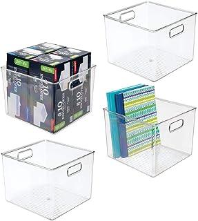 mDesign bac de Rangement pour Accessoires de Bureau (Lot de 4) – Panier de Rangement en Plastique pour Armoire ou tiroirs ...