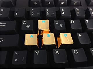 4 Keys WASD QWER Keycaps Metal Backlit Keycap OEM for Cherry MX RGB Switches and Kailh Switches Mechanical Keycaps Replacement (WASD 4 keycaps, Gold)