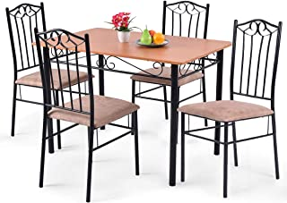 Tangkula 5 Piece Dining Table Set Vintage Wood Top Padded...