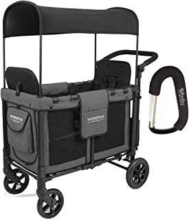 WonderFold W2 Multi-Function Push 2 Passenger Double Folding Stroller, Adjustable Canopy & Removable Chair Seat Up to 2 Toddlers with Bonus Baby GERA XPO Stroller Hook Included!!! (Charcoal Gray)