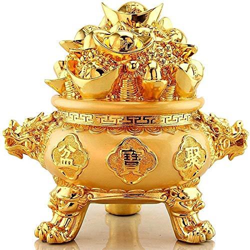 JJDSN Adornos de Riqueza de Yuan Bao Los Mejores Regalos de felicitacin de inauguracin de la casa para la Apertura, Figura de Feng Shui, estatuas de Cuenca del Tesoro Dorado B