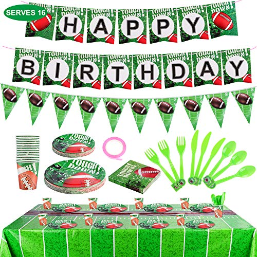 FiGoal Football Theme Birthday Party Supplies and Party Decorations for 16 Guests – Include Banner Tablecover Plates Napkins Cups Flatware Set Touch Town Tableware Accessory Decorations