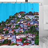 Martinique Shower Curtain Travel Bathroom Decor Set with Hooks Polyester 72x72Inch(YL-03813)