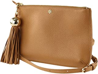 Tory Burch (50671) Pebbled Leather Tassel Crossbody Hand Bag Cardamom