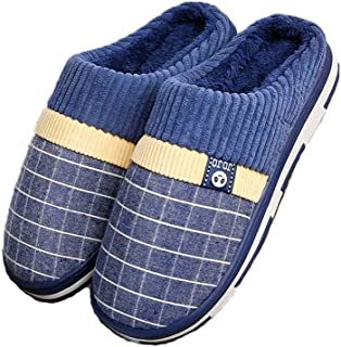 afe26fd22c25c2 Qiusa Open Back Slipper for Men Morbida Fodera in Pelliccia Casual  Antiscivolo Pantofola Invernale Calda (