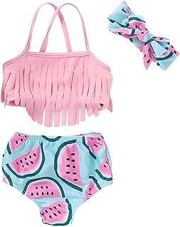 Girls Mermaid at Heart Pink Sizzle Rash Guard /& Bikini Bottom 2-Piece Swim Set