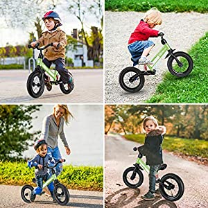 besrey Laufräder Laufrad Mit Stoßdämpfern und 12-Zoll-Luftreifen. Der Griff und die Sitzhöhe sind einstellbar. 3-6 Jahre. Universell drinnen und draußen.