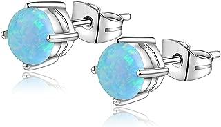 Candyfancy 20G Opal Stud Earrings Surgical Steel Pierced Earrings Double Lobe Earrings for Women Men