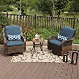 PHI VILLA 3 Piece Patio Furniture Set Outdoor Rattan Rocker Conversation Set with 1 Table and 2 Rocking & Swivel Chairs Support 350lbs