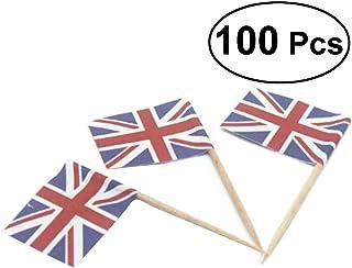 BESTOYARD Selecciones de Bandera Union Jack Selecciones de Bandera Bandera del Reino Unido Palillos de Dientes para Fiesta Favores Boda de Cumpleaños Baby Shower Día Nacional Cupcake Toothpick 100pcs