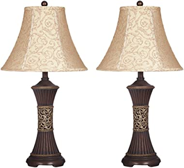 Signature Design by Ashley L372944 - Mariana Poly Table Lamps - Traditional - Set of Two - Antique Brown