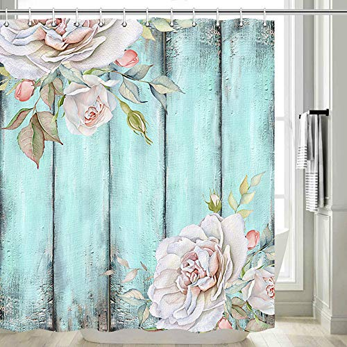 Teal Rustic Shower Curtain, Teal Rustic Farmhouse Shabby Country Chic Blue Curtain Rose Wood Look Shower Curtain, Barn Wood Shower Curtain Set with Hooks, 70 in