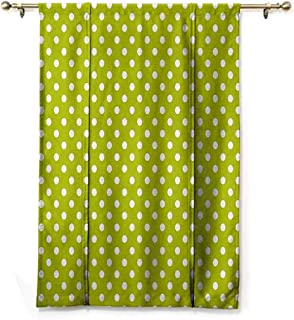 SEMZUXCVO Room Dark Black Insulated Roman Blind Retro Vintage Old Fashioned 60s 70s Inspired Polka Dots Pop Art Style Art Print Privacy Protection W48 x L72 Lime Green and White