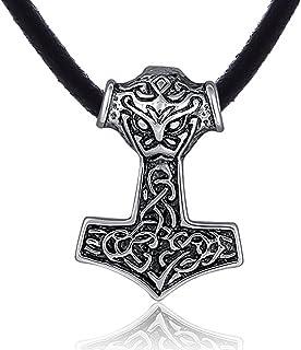 DonDon Mens Rubber Necklace 50cm with Tribal Pendant Stainless Steel in Black Velvet Gift Bag