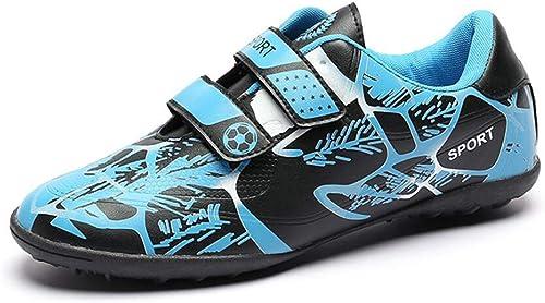 Chaussures de Soccer d'extérieur d'intérieur à Crampons pour Garçons, Hommes, Football, Football athlétique, Bleu Rouge